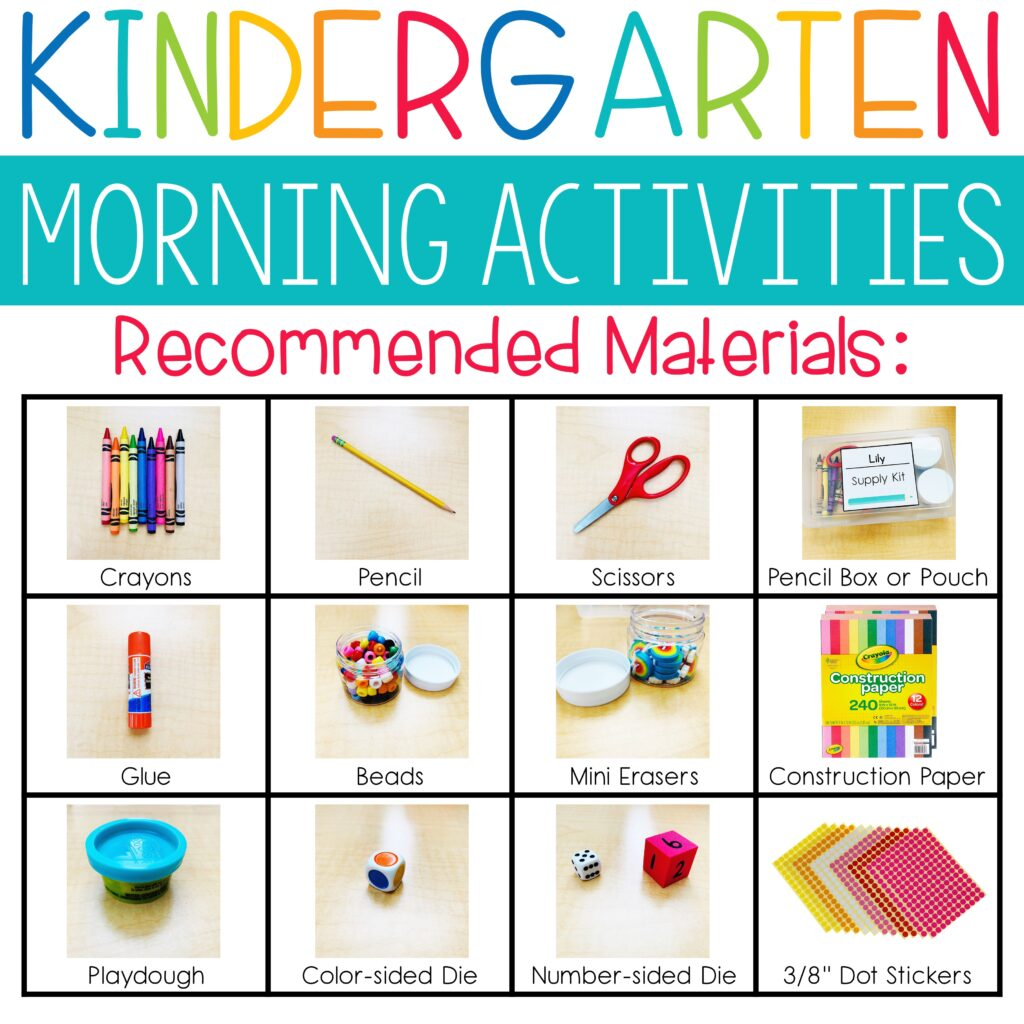 kindergarten supplies for morning activities