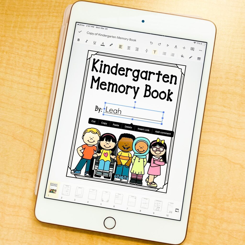 kindergarten memory book with printable and digital versions