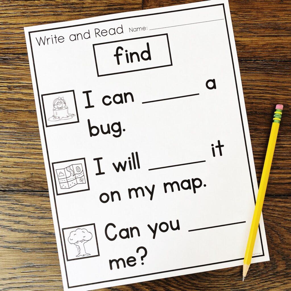 sight word activity for kindergarten