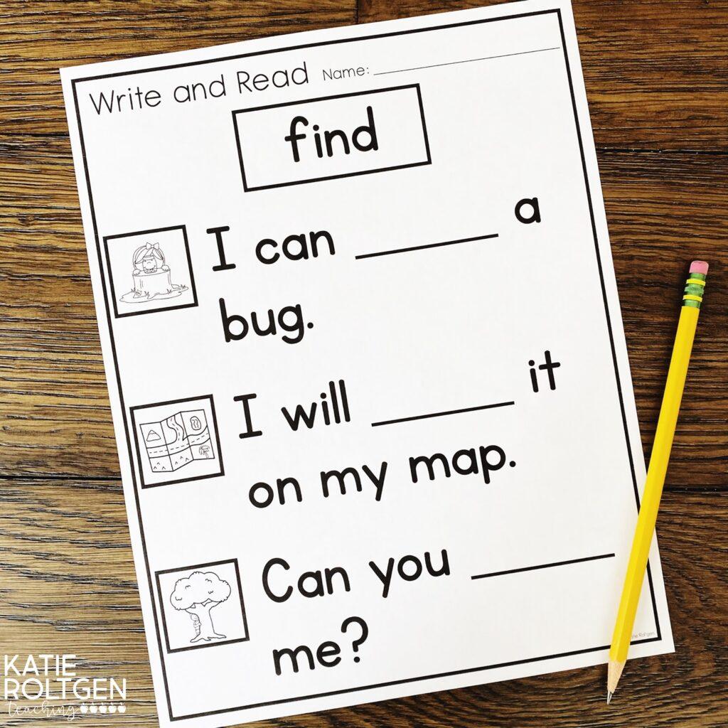 Sight words for kindergarten