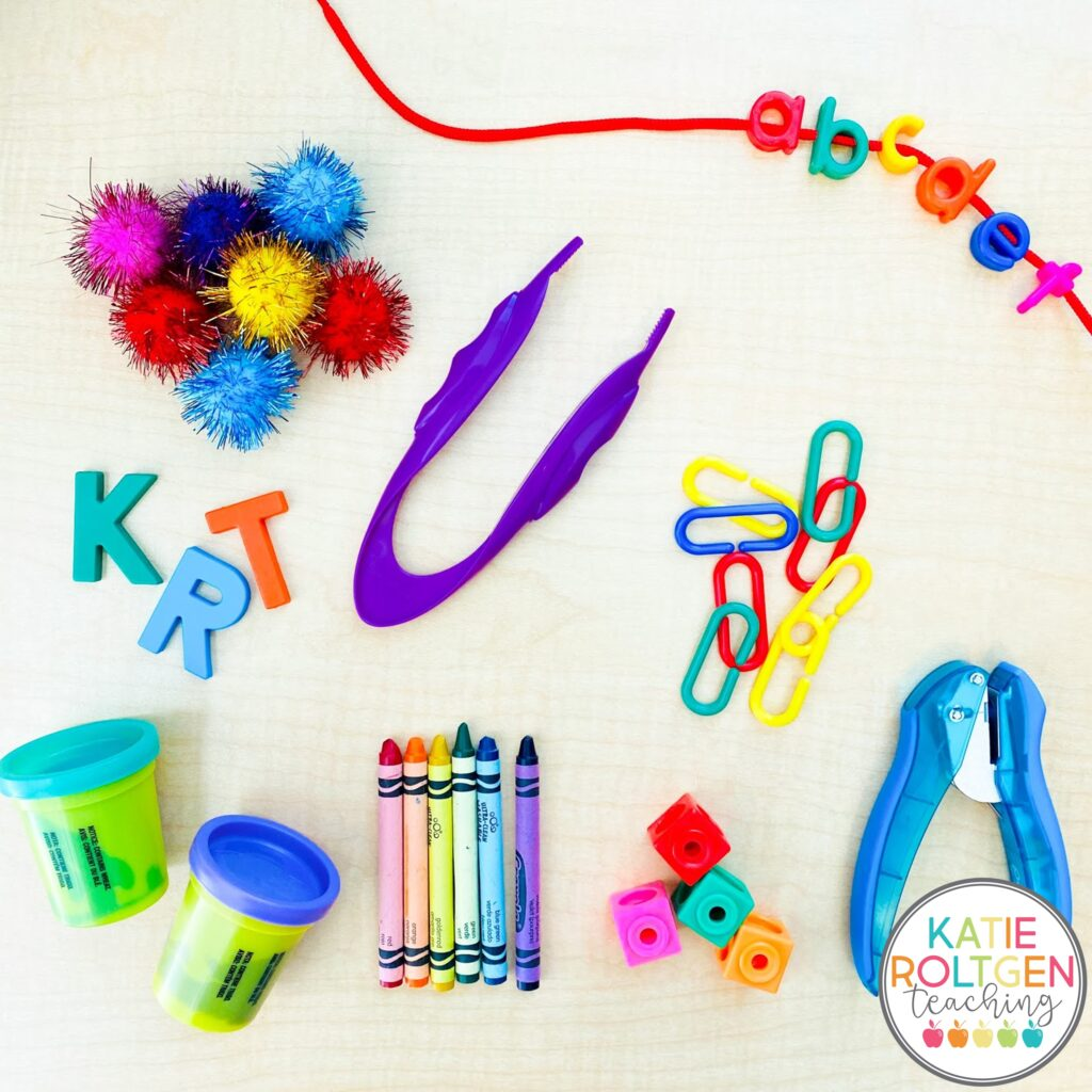 kindergarten morning tubs and fine motor activities